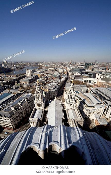 View over London from the roof of St Paul's Cathedral; London, England