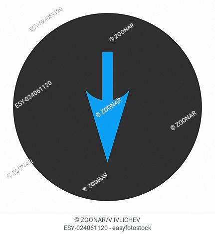 Sharp Down Arrow flat blue and gray colors round button