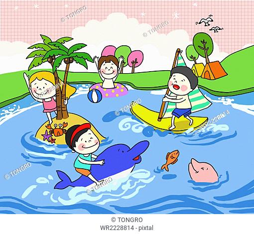 People enjoying summer vacation in the water