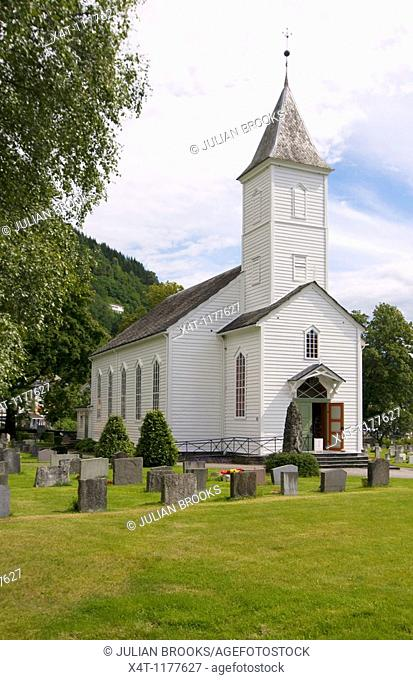The wooden church at Øystese, Western Norway, on the Hardanger Fjord