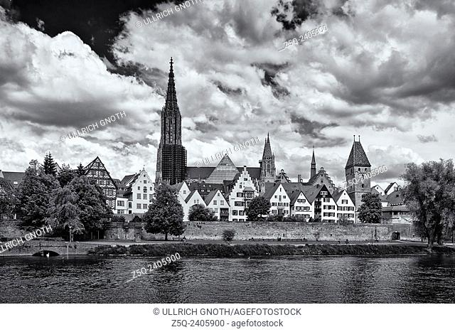 Historic waterfront of Ulm, Germany, showing the Ulm Minster and the ancient city walls