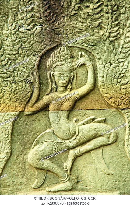Cambodia, Angkor, Banteay Kdei, buddhist temple, apsara figure,