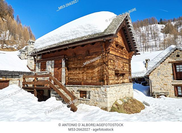 Early spring view of the mountain village of Crampiolo. Baceno Municipality. Province of Verbano-Cusio-Ossola. . Piemonte. Italy