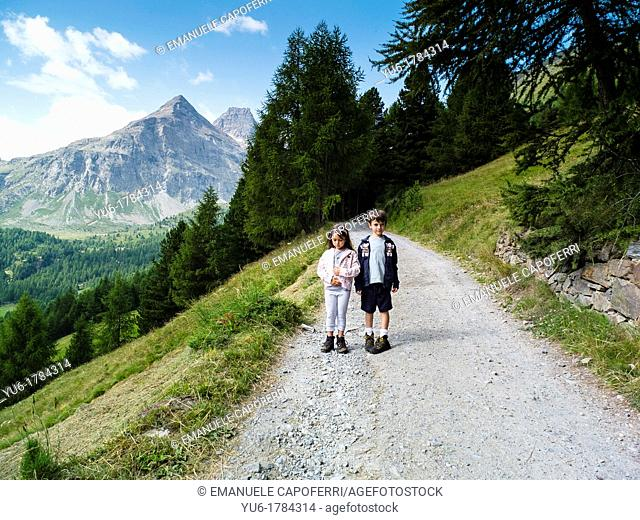 Children make an excursion in the Stelvio National Park, Purple Valley, Bormio, Lombardy, Italy