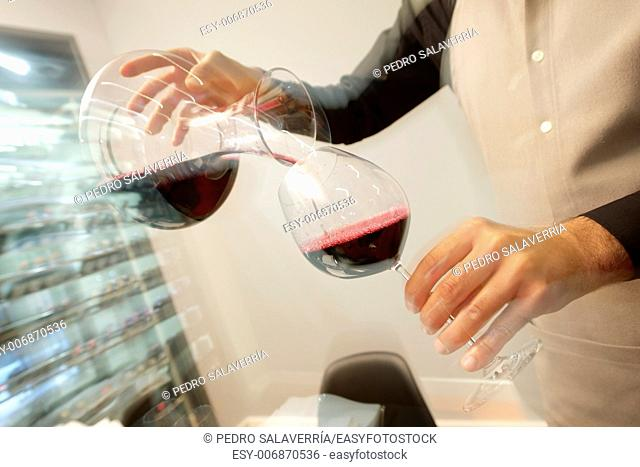 Serving wine in a modern restaurant