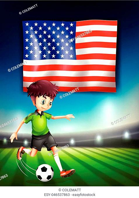 American soccer player template illustration