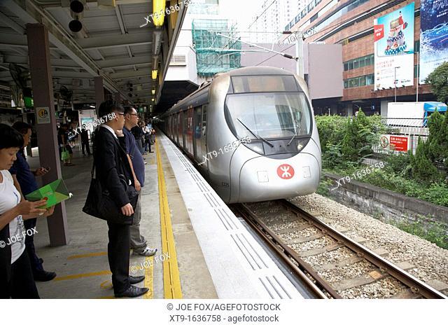 MTR SP1900 train arrives at sha tin station on the mtr overground line former kcr kowloon canton railway hong kong hksar china asia