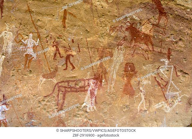 Prehistoric rock paintings, Akakus, Sahara desert, Fezzan, Libya