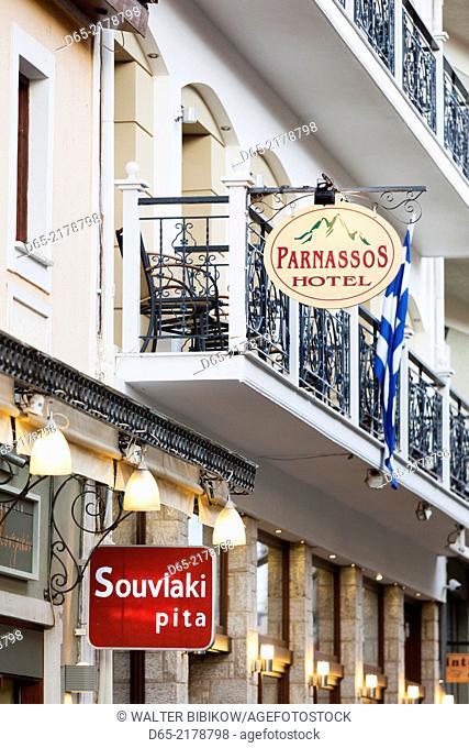 Greece, Central Greece Region, Delphi, sign for the Parnassos Hotel