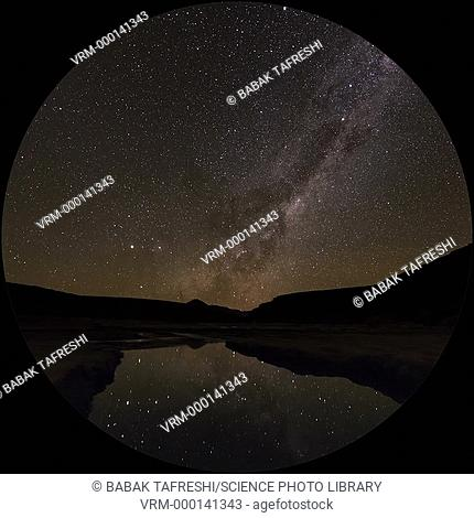 Timelapse footage of the Milky Way in the night sky, reflected in a lake. Filmed in the Altiplano, northern Chile, April 2016