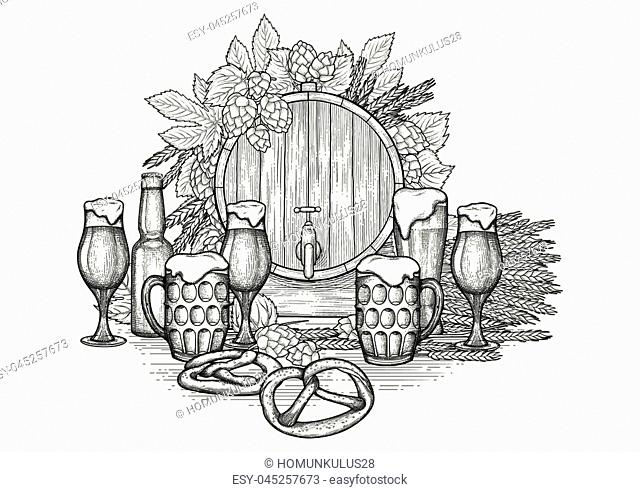 Graphic barrel of beer decorated with hops, malt bunch, different types of beer glasses, bottle and pretzels over the wooden texture
