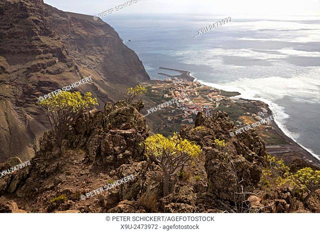 hotels and the harbour of the valley Valle Gran Rey, La Gomera, Canary Islands, Spain, Europe