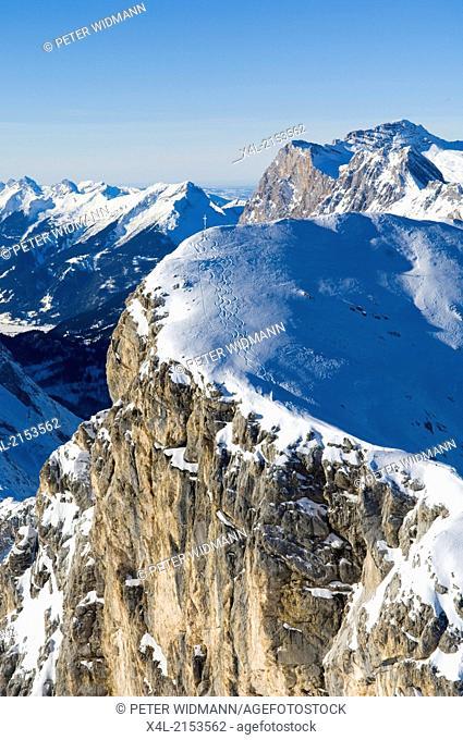 snowy mountains with skiers tracks, Austria, Tyrol, Karwendel