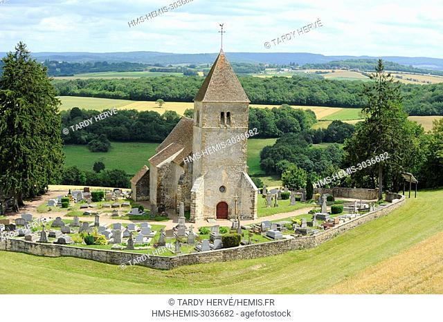 France, Nievre, not far from Bazoches, in the open field, the small church and monument to the dead of Saint Aubin de Chaumes (aerial view)