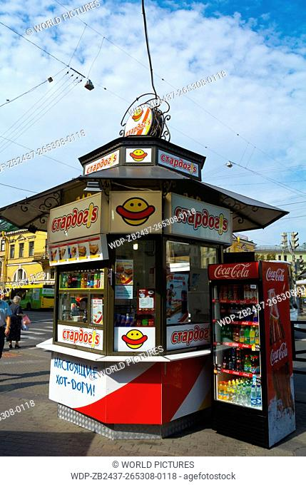 Hot dog fast food stand, Sennaya square, Haymarket, central Saint Petersburg, Russia, Europe