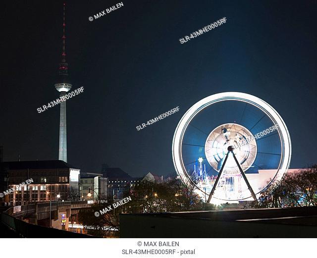 Time lapse view of Berlin amusement park
