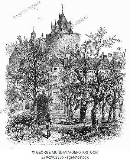 1870: Apple Orchard in front of the Curfew Tower, built in the 1220s by Henry III. In 1477, Edward IV granted the tower to the College of St George as a belfry...
