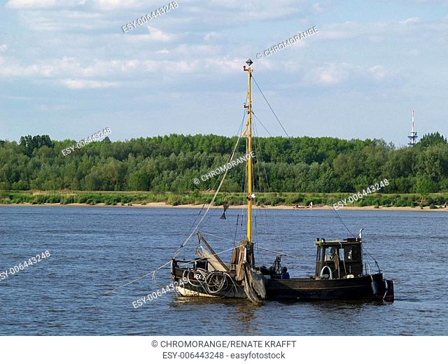 Fishing cutter on the Lower Elbe,Lower Saxony,Germany,Europe