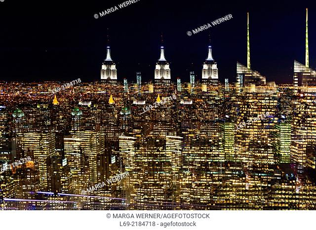 View on Manhattan to the south at night, multiple exposure, New York City, USA