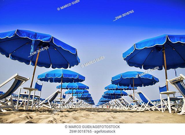 View of the equipped beach in Viareggio, Italy