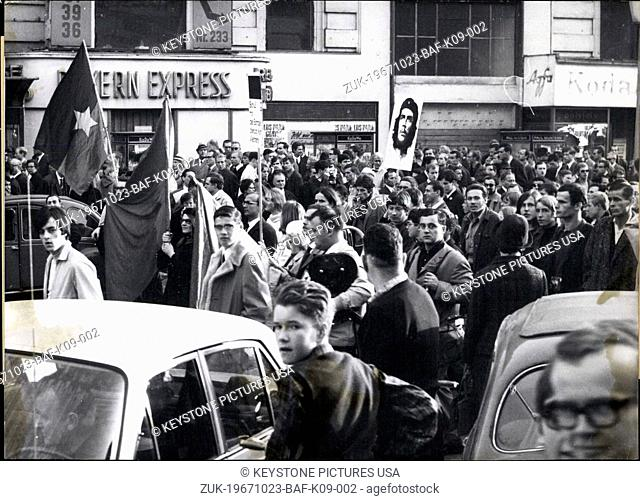 Oct. 23, 1967 - Protests all over the world occurred on the October 21-22 weekend against the American war in Vietnam. In Washington, London, Paris, Berlin