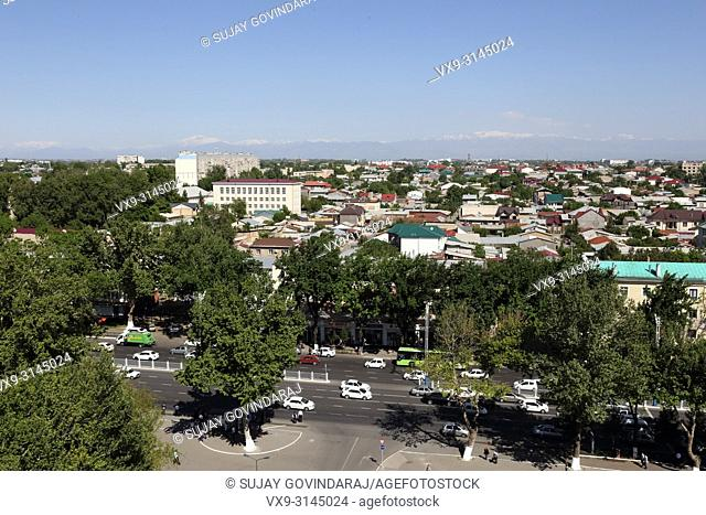 Tashkent, Uzbekistan - May 02, 2017: View of urban buildings, houses and road in the city