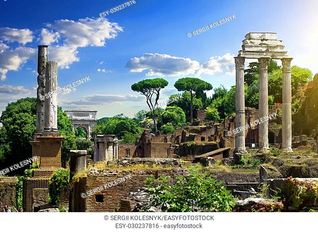 Ruined Roman Forum at sunny day, Italy