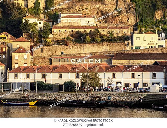 View over Douro River towards Calem Winery, Vila Nova de Gaia, Porto, Portugal