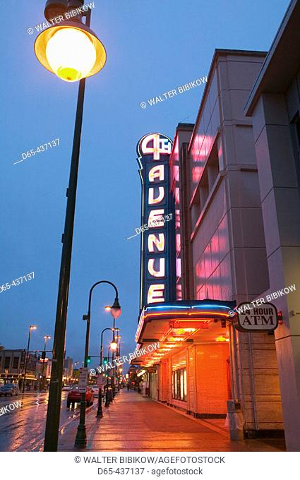 Neon Sign of the 4th Avenue Theater. Evening. Landmark of Downtown Anchorage. Anchorage. Alaska. USA