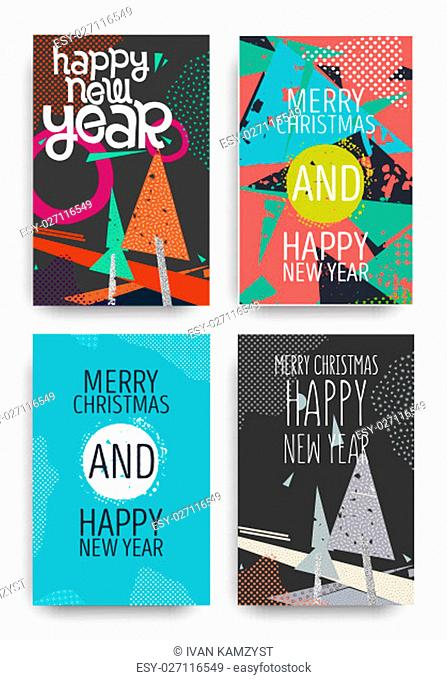 Color Merry Christmas and Happy New Year greeting card set. Vector holiday illustration