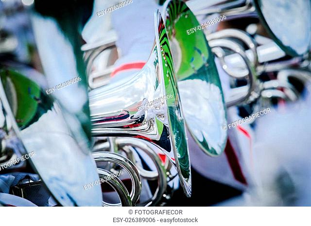 Details from a showband, fanfare our drumband with Instruments