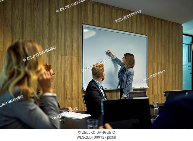 Business people looking at businesswoman writing on whiteboard
