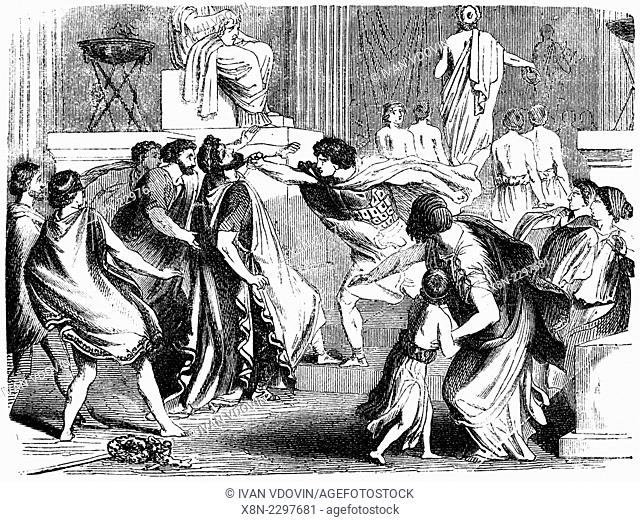 Assassination of Philip II of Macedon (336 BC), illustration from book dated 1878