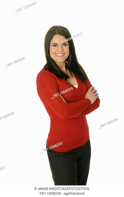 Attractive woman wearing red sweater