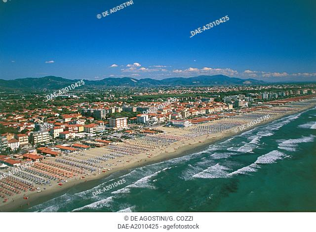 Aerial view of the coast of Forte dei Marmi, Versilia, Tuscany, Italy