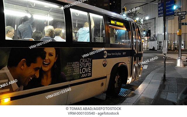 M104 MTA public transportation bus, Broadway, Manhattan, New York City, Columbus Circle, Mid Town, USA