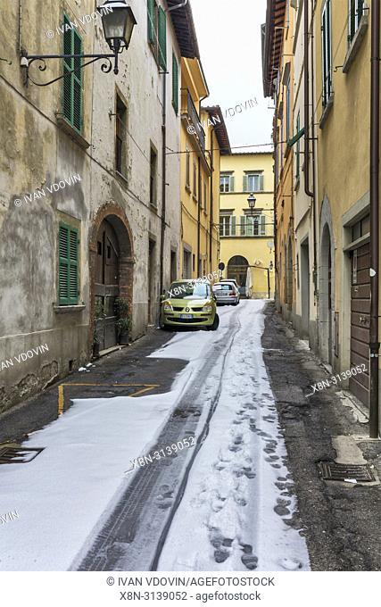 Street in old town, Sansepolcro, Borgo Santo Sepolcro, Arezzo, Tuscany, Italy
