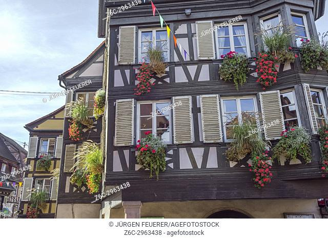 flowery half-timbered houses in the village Barr, on the Wine Route of Alsace, France