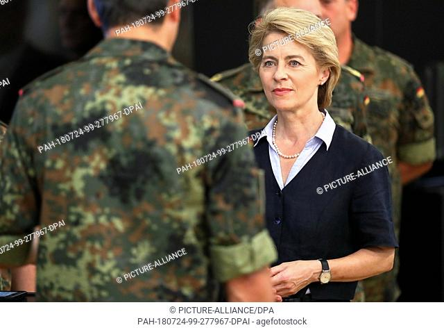 24 July 2018, Germany, Leipzig: German Minister of Defence Ursula von der Leyen of the Christian Democratic Union (CDU) visits the training command