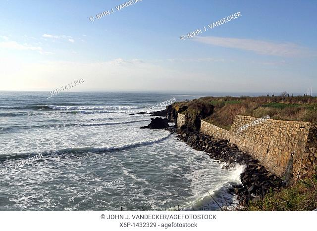 The Cliff Walk in Newport, Rhode Island, USA, affords a three and one-half mile walk at the edge of seaside bluffs and allows for the viewing of 64 private...