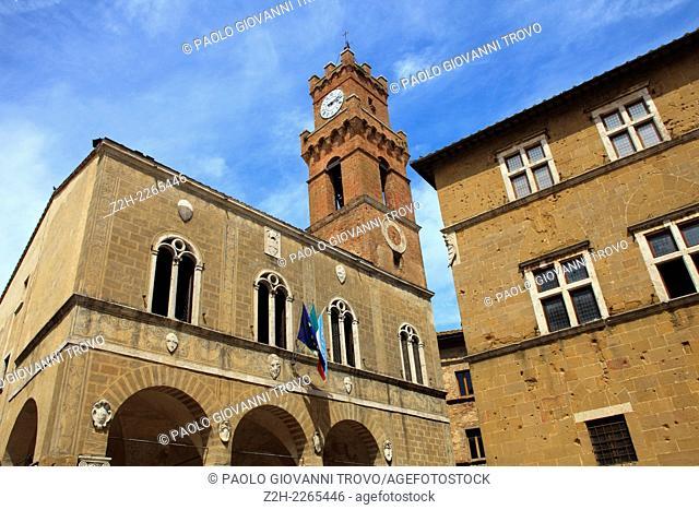 Clock tower, Pienza, Val d'Orcia, Siena, Tuscany, Italy