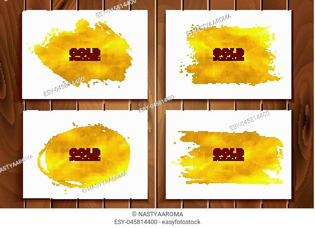 Set of golden glitter spots with halftone effect. Golden sparkling brush strokes isolated on white background