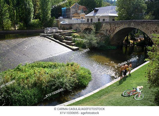 Locks, Eresma river next to the Casa de la Moneda, Segovia. Castilla-Leon, Spain