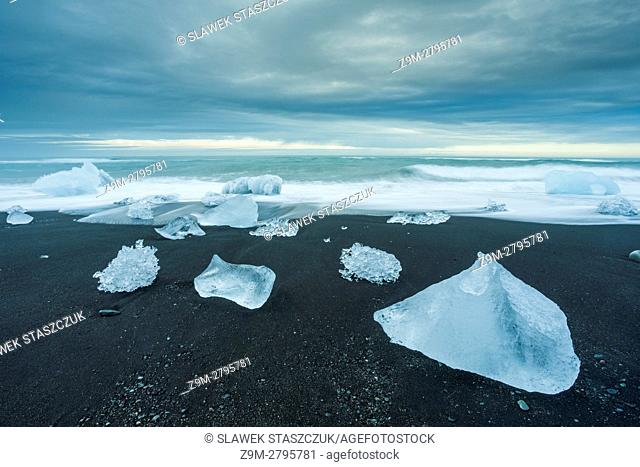 Glacial ice chunks on Jokulsarlon beach, south Iceland