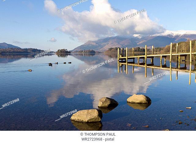 Derwentwater, See, Lake District, Nationalpark, Ansicht, Sicht, Winterlich, Schnee, B?ume, Cumbria, England, Vereinigtes K?nigreich, Grossbritannien, Europa