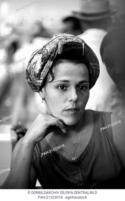 """Female worker in a sugar factory in Cienfuegos on the 22nd of November in 1972. With the help of socialist """"""""brother nations"""""""" like the GDR"""