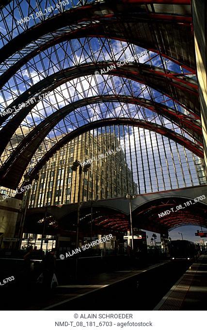 Interiors of a railroad station, Canary Wharf Tube Station, London, England