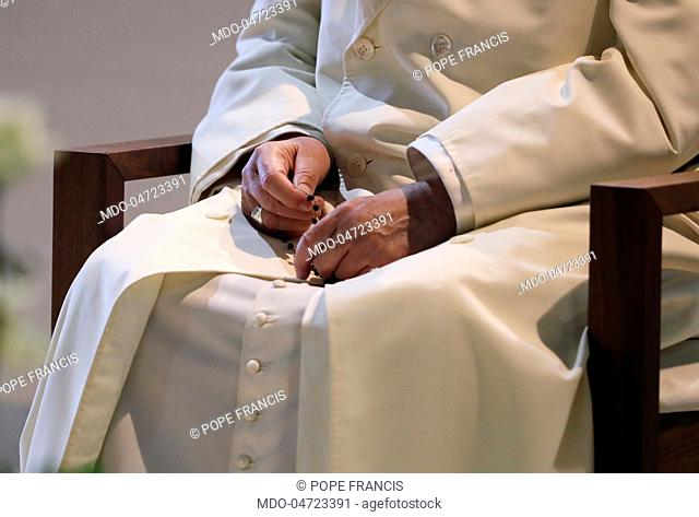 Recitation of the Rosary in the square of Sanctuary of Fatima in the presence of Pope Francis (Jorge Mario Bergoglio). Fatima, Portugal. 12th May 2007