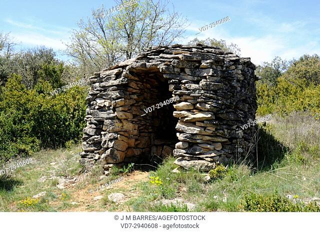 Caseta de Buichitars. Shepherd hut in Lecina-Betorz, Barcabo municipality. Sobrarbe region, Sierra y Cañones de Guara Natural Park, Huesca province, Aragon