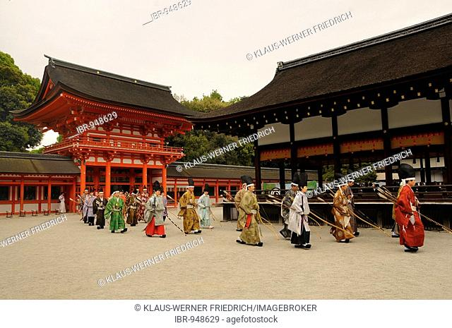 Entry of archers and Shinto priests at the archery opening ceremonial in Shimogamo Shrine, Kyoto, Japan, Asia